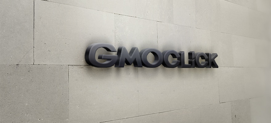 Japanese broker GMO Click 3D logo on a wall
