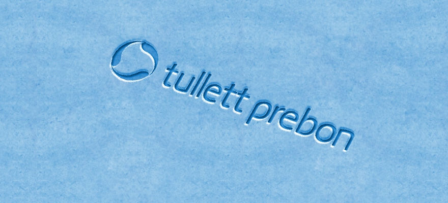 a tullett prebon logo on a light blue background