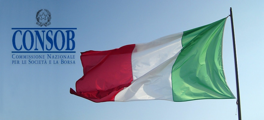 The CONSOB logo next to an Italian flag