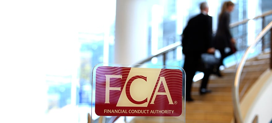 Financial Conduct Authority (FCA) logo in front of a set of stairs at KBC Securities