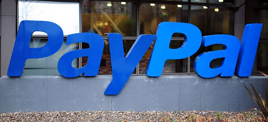 Paypal logo at its headquarters.