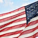 American flag, dish