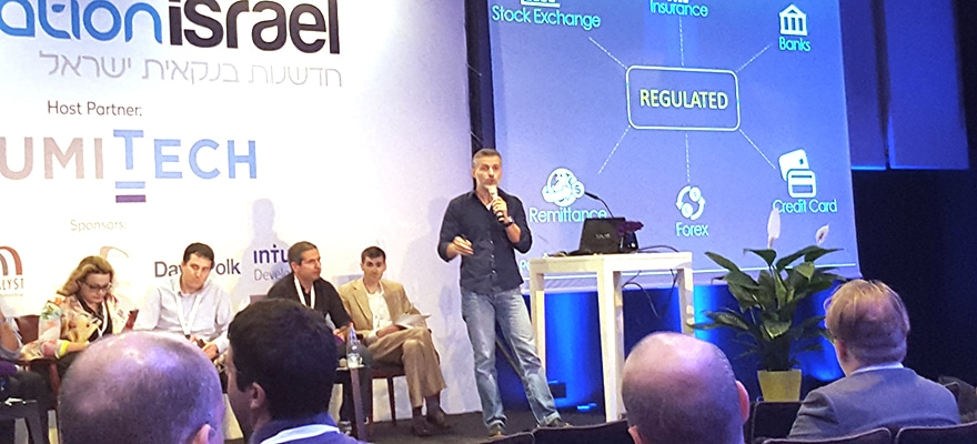 Alfred Shaffir, CEO of Polycoin presenting at Bank Innovation Israel