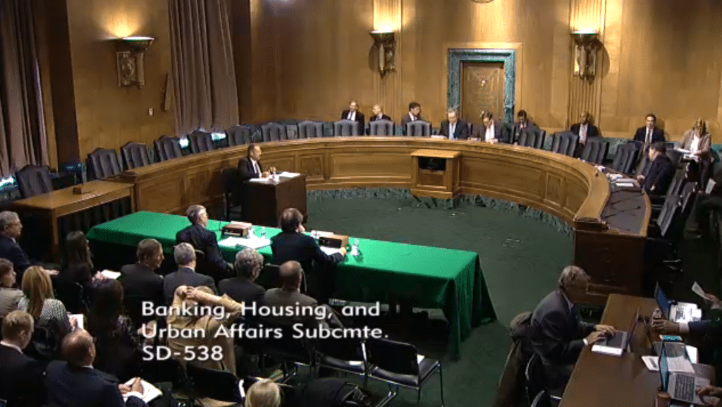 "The March 3rd 2016 hearing on ""Regulatory Reforms to Improve Equity Market Structure."" Source: US Senate Committee Channel"