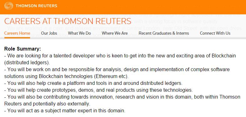 Screenshot: Thomson Reuters Wants an Ethereum Engineer