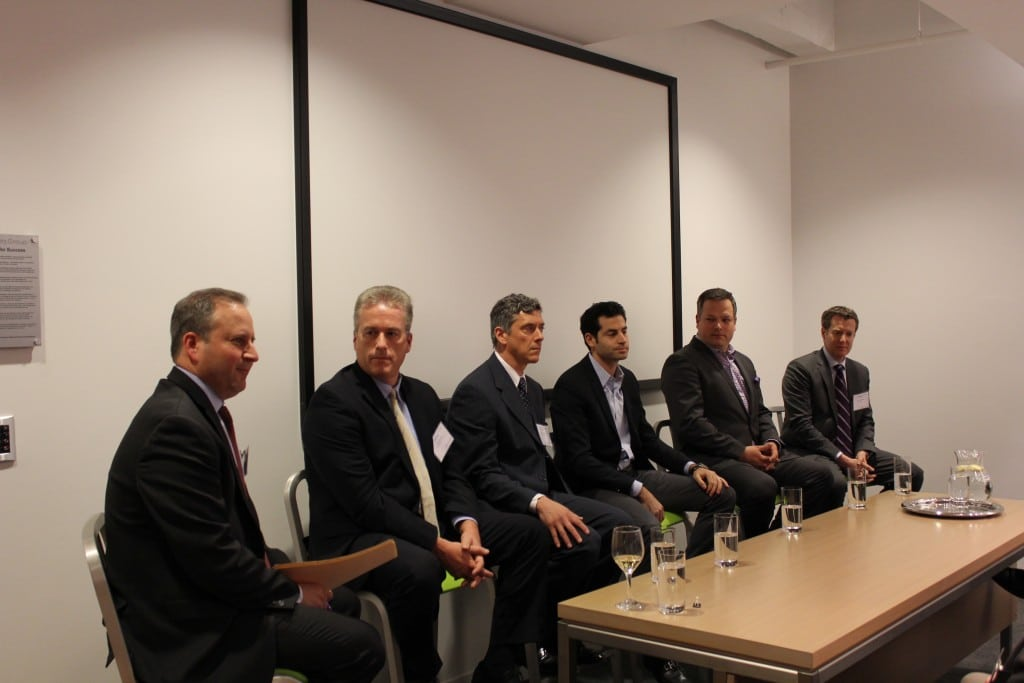 Pictured left to right: Brian Korn with Manatt, Phelps & Phillips LLP (moderator); Scott Jordan with HealthiosXChange; Scott Anderson with FundAmerica; Ryan Feit with SeedInvest; Chris Tyrrell with OfferBoard; and Mark Elenowitz with BANQ. Source: OTC Markets