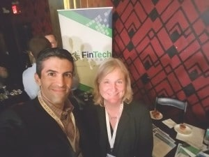 Steven Hatzakis, Editor with Finance Magnates (left), Meeting with Jean Donnelly (right), Executive Director at FinTech Sandbox based in Boston, photo taken on April 26, 2016 at the Empire Startups Fintech NY event.