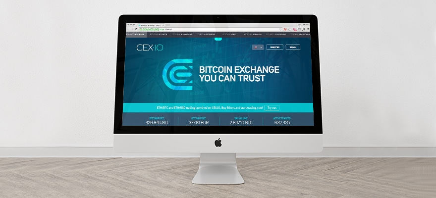 A Mac computer featuring the cex.io website before the ETH Constantinople hard fork