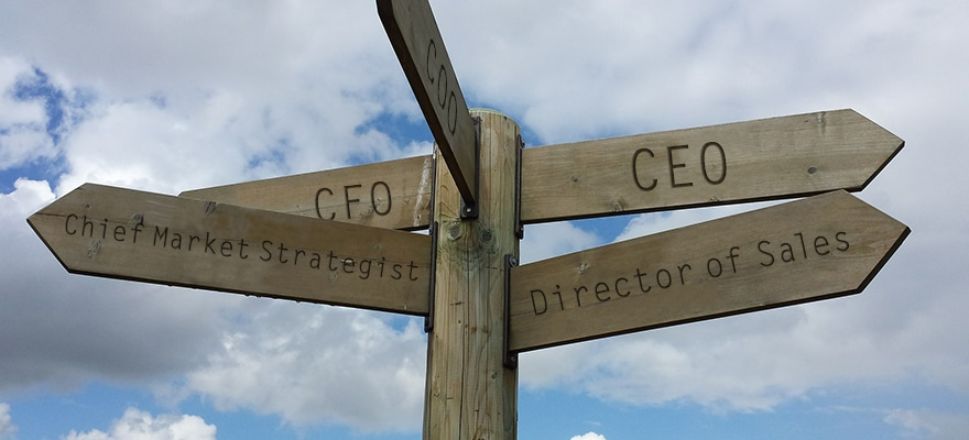 A picture of signs pointing at different executive moves