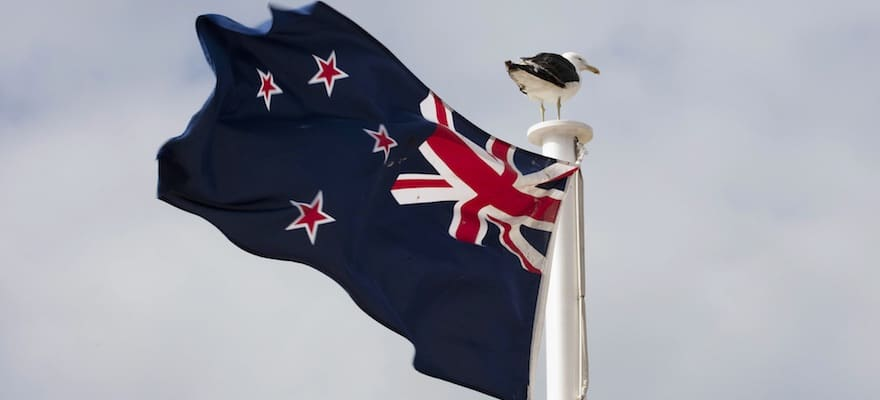 New Zealand Flag against a blue sky, FMA