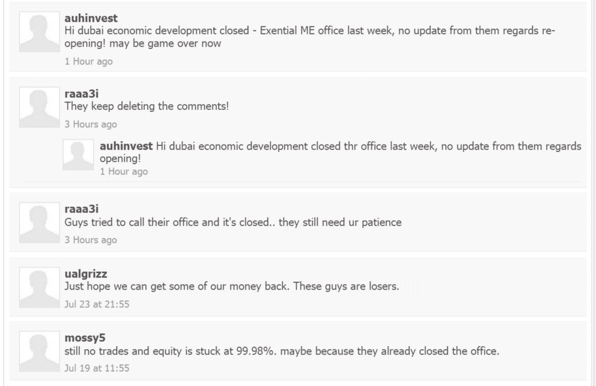Exential Group clients' comments on myfxbook