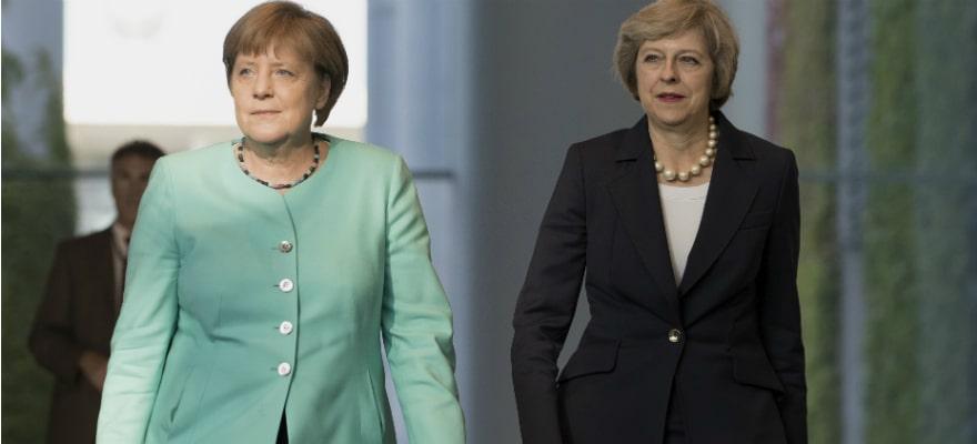 Theresa May and Angela Merkel Strike Friendly Tone on First Meeting