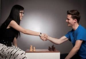 Women's Chess World Champion Hou Yifan and Tradimo Interactive Founder & CEO Sebastian J. Kuhnert Source: Tradimo