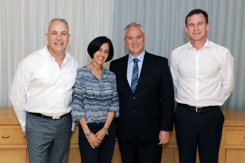 Executives from CIBC, National Australia Bank (NAB) and Israel's Bank Leumi gathered in Tel Aviv for the official signing of a newly formed strategic partnership. (From left to right: Dan Yerushalmi, First Executive Vice President, Group CTIO and COO, Bank Leumi, Tamar Yassur, First Executive Vice President, Head of Digital Banking Division, Bank Leumi; Stephen Forbes , Executive Vice President and Chief Commercial Officer, CIBC; and Jonathan Davey, Executive General Manager, NAB Labs, NAB). (CNW Group/Canadian Imperial Bank of Commerce)