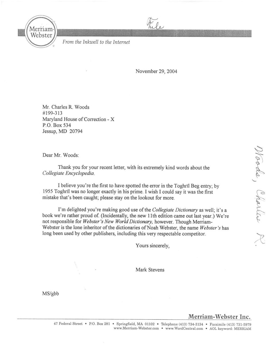 Stevens' response to Woods' first letter, courtesy of The New Yorker.