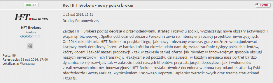 A fragment of a statement published by the HFT Brokers on one of the Polish forums. Source: forex-nawigator