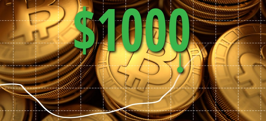 Bitcoin Starts 2017 with a Bang as the Price Hits $1000