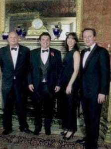 From L to R: Lars Steffensen, Joseph Crawley, Samantha Cameron, David Cameron