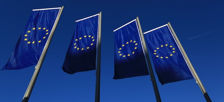 European Union flags fly outside ECB headquarters