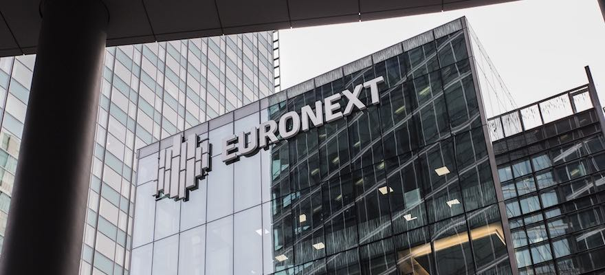 Euronext logo on its office in Paris