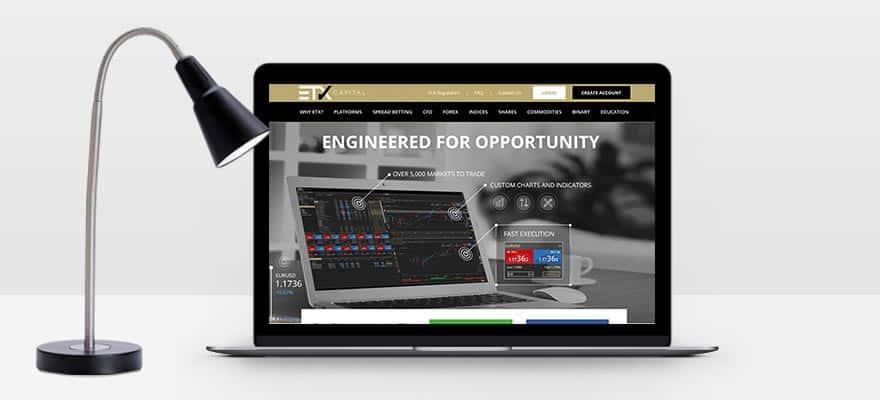 笔记本电脑屏幕上的ETX Capital网站