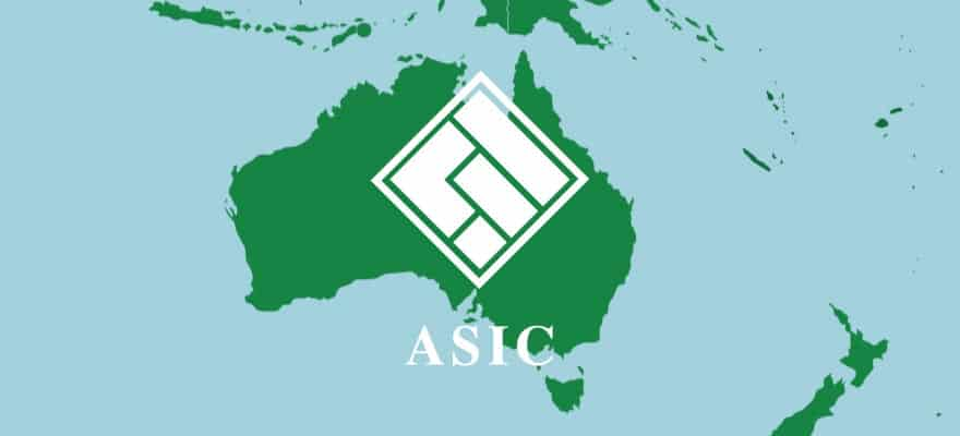 Australian securities and investments commission (ASIC) logo on Australian map.