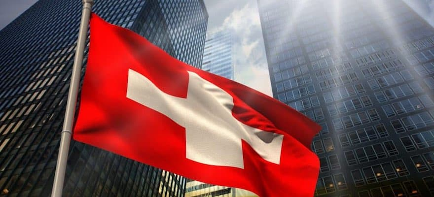 Swiss flag flying in front of FINMA building in Zurich