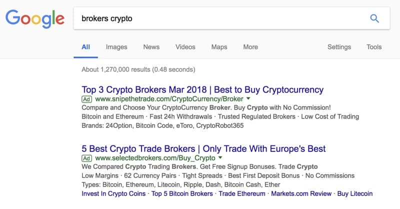 Google Bans Crypto-related Ads: Ban To Take Effect June 2018