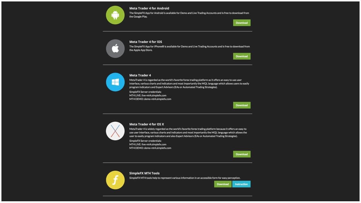 SimpleFX, FX, cryptocurrencies, webtrader