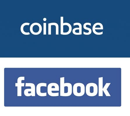 The Coinbase and Facebook logos.