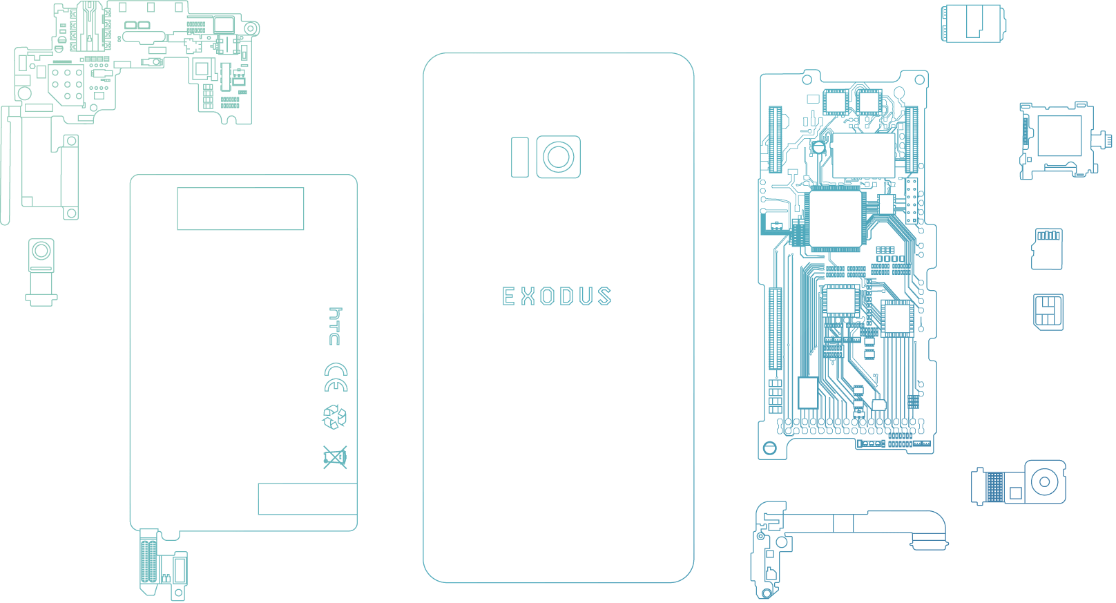 Blueprints for HTC's Exodus blockchain smartphone.