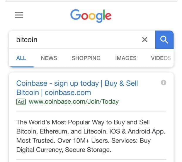 Not to Be Outdone by Facebook, Google Displays Coinbase