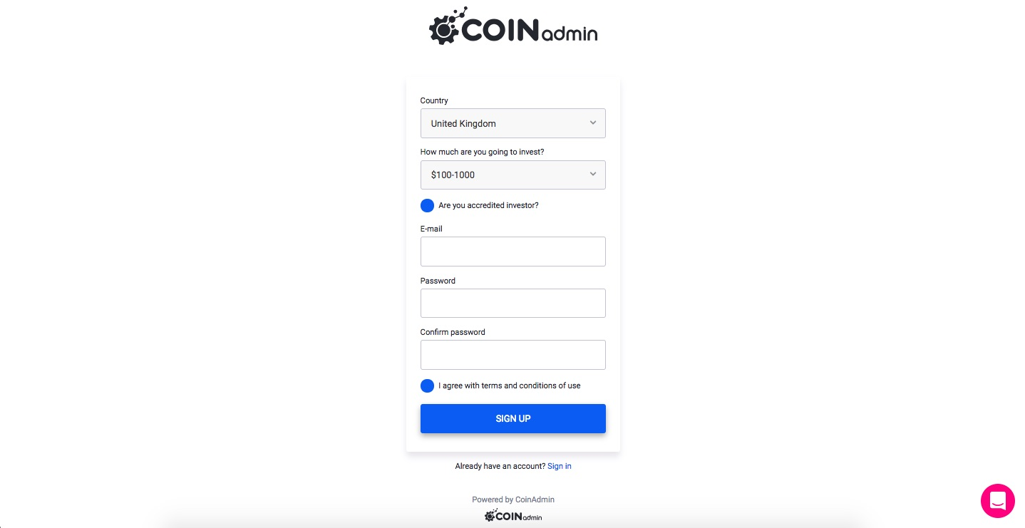 COINAdmin, token sales, UX