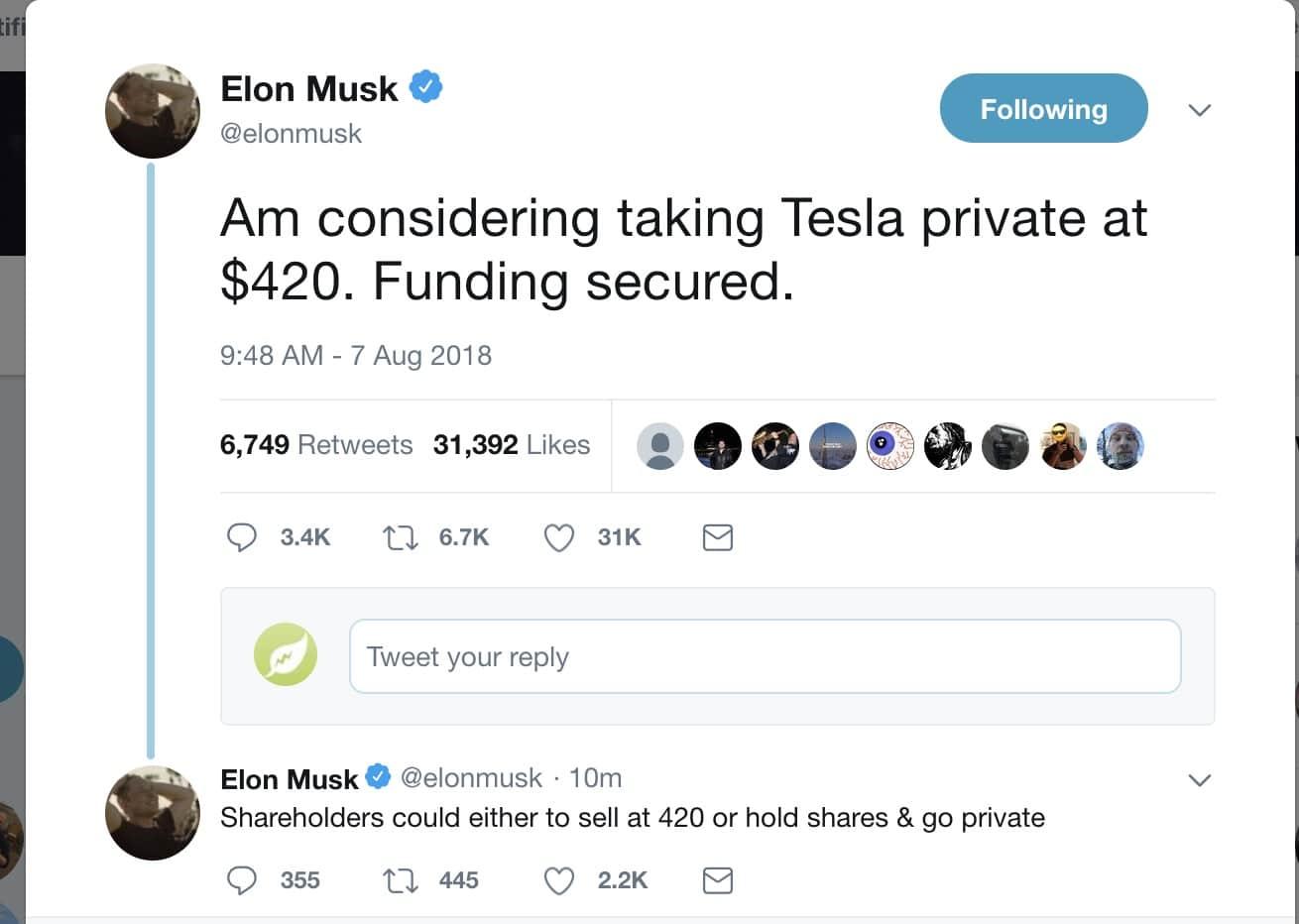 Elon Musk's infamous 'funding secured' tweet.