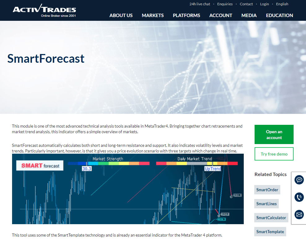 Image 1 ActivTrades SMART Forecast Product Page