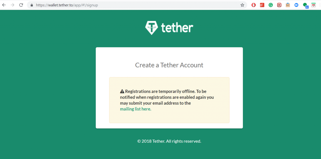 Tether's registrations are offline.