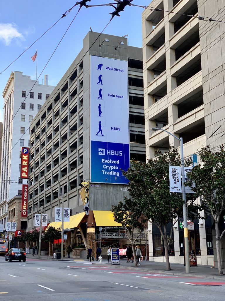 "HBUS' ""Evolved Crypto Trading"" Billboard in downtown San Francisco"