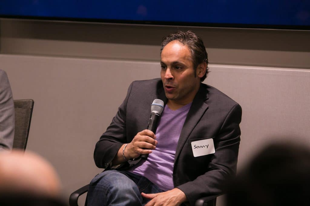 Sonny Singh, CCO of cryptocurrency company BitPay, speaks at a conference in California