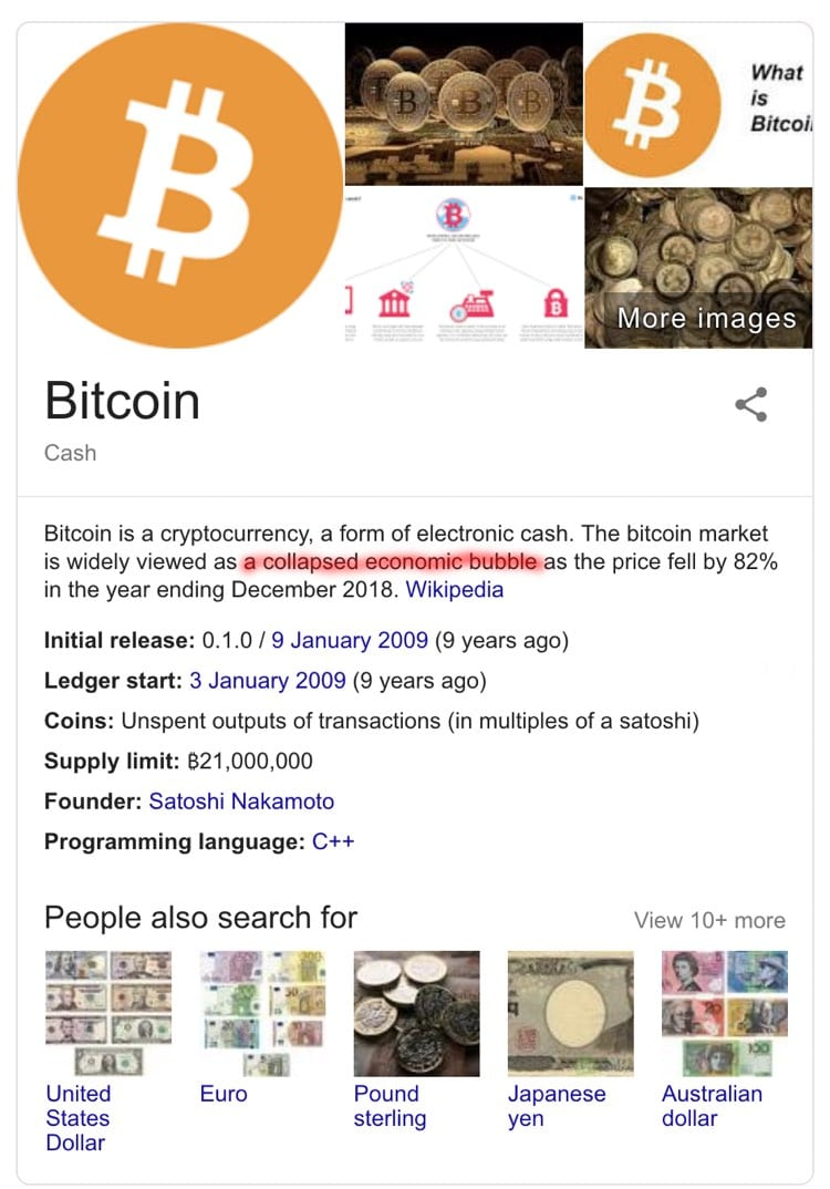 The Bitcoin card on Google