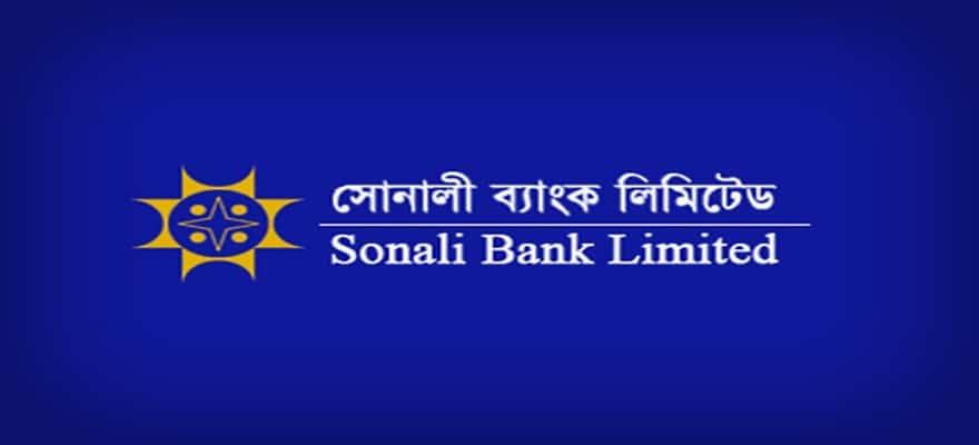 sonali bank logo on a blue background