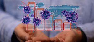 an artistic image of a graph, virus molecules, the world, and hands