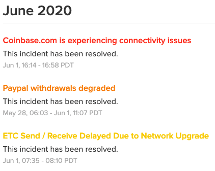 Coinbase system outage