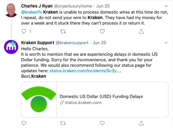 Kraken USD funding delays twitter
