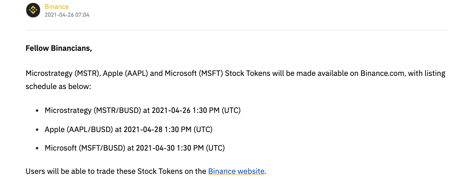 Binance Launches Stock Token Trading for Apple, MicroStrategy, & Microsoft