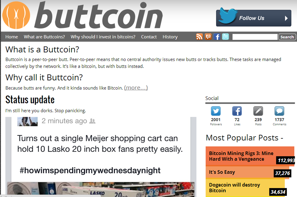 buttcoin page