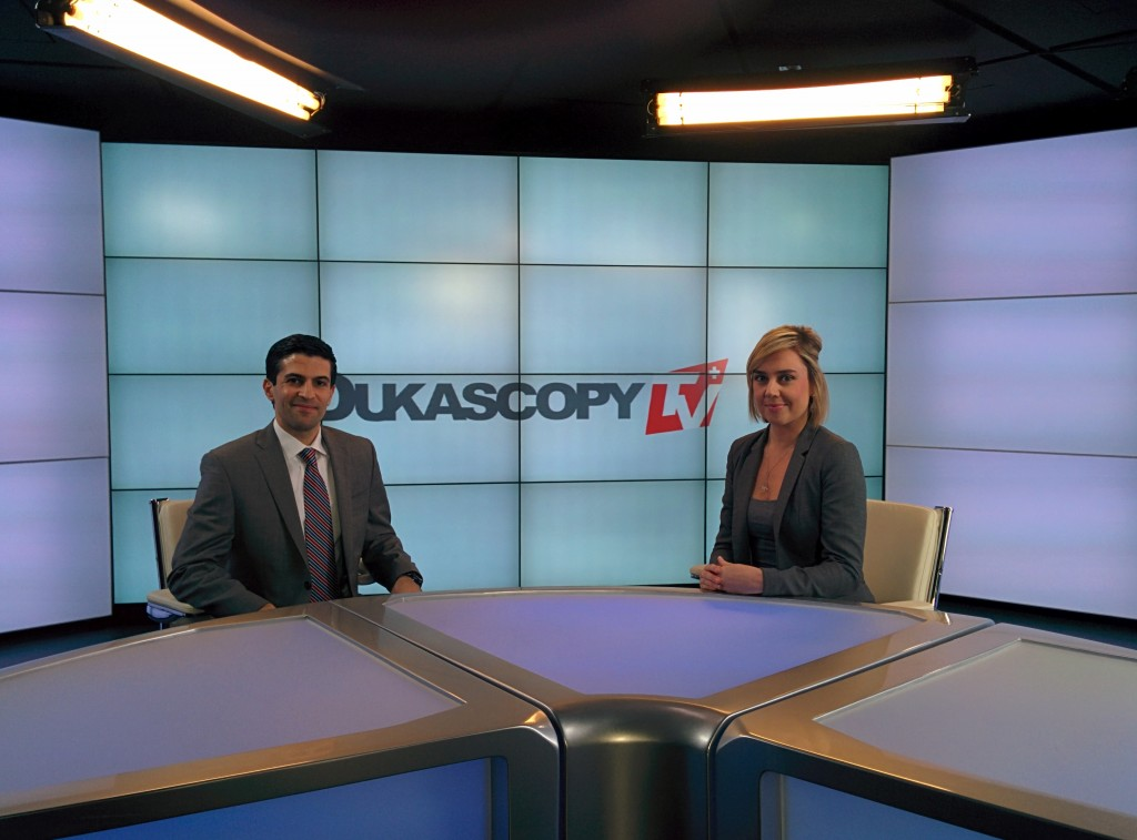 Dukascopy TV, Steven Hatzakis, Editor, Forex Magnates (Left), Monica Gibson,Journalist, Dukascopy TV (Right)
