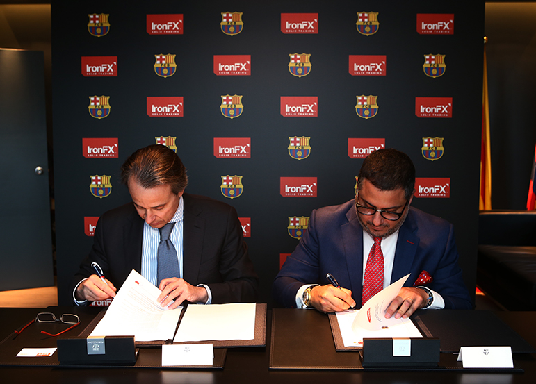 Javier Faus Santasusana, Senior Vice President FC Barcelona and Markos Kashioris, CEO Iron FX