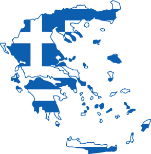 Map of the Hellenic Republic of Greece Transponsed over Greek Flag
