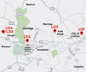 Equinix Data-Center Locations around London [source: Equinix]