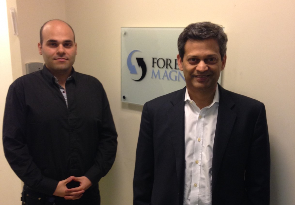 Sanjay Madgavkar (Right), Managing Director, Global Head - FX Prime Services, Citibank Institutional Clients Group at Forex Magnates offices with Avi Mizrahi (Left)
